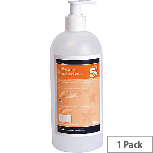 5 Star Pearlised Anti-Bacterial Lotion Hand Wash Soap 500ml Refill Pack 1