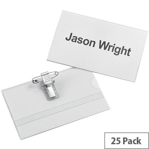 5 Star Office Name Badge Landscape with Combi-Clip 54x90mm  Pack of 25