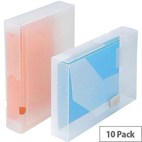 5 Star Office  A4  Document Box Polypropylene 60mm Clear  Pack 10