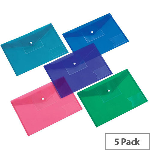 5 Star Office  A4  Envelope Stud Wallet Large Front Pocket Polypropylene Assorted  Pack 5
