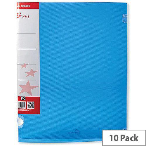 5 Star Office Ring Binder 2 O-Ring Polypropylene A4 Blue  Pack 10