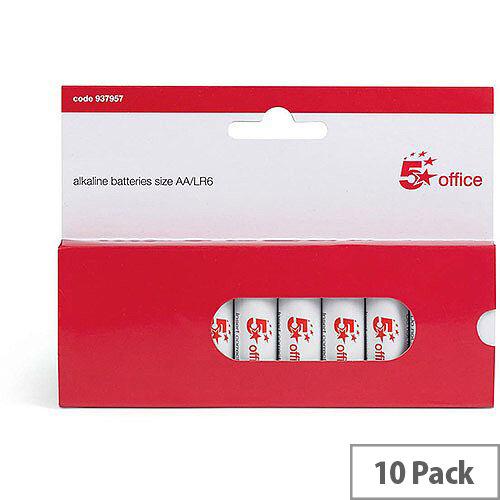 5 Star Office  AA  LR06 Alkaline Batteries  Pack of 10