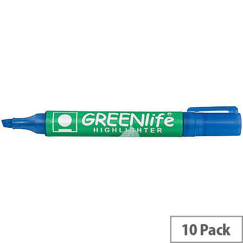5 Star Eco Highlighter Pens 1-5mm Line Blue Pack 10