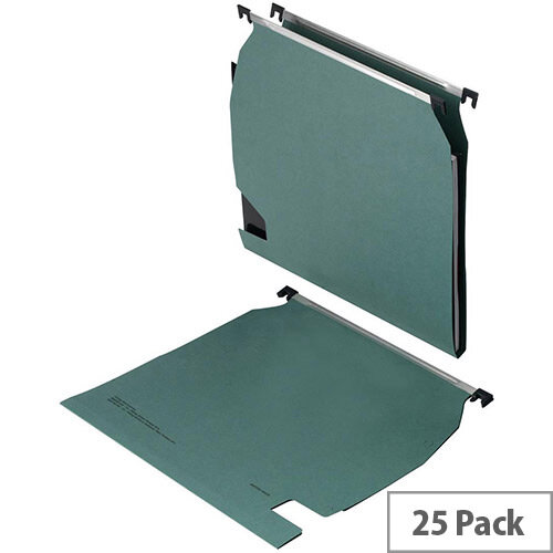 5 Star Office Lateral File Manilla with Clear Tabs and Inserts w270mm Green  Pack 25