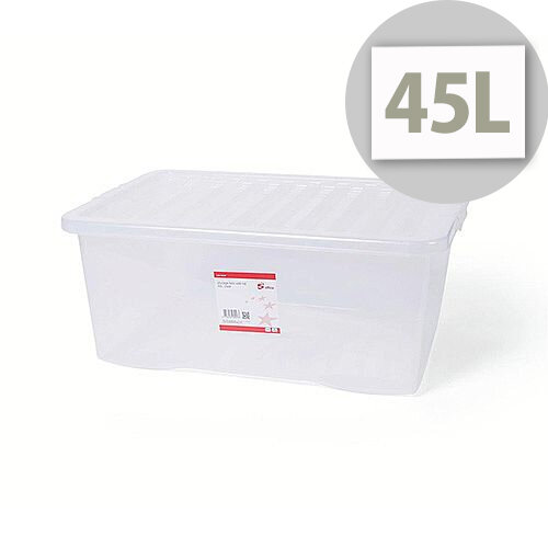 5 Star Office Storage Box Stackable Clip-on Lid 45L Clear/Transparent Ideal For Offices, Schools, Homes, Warehouses &More.