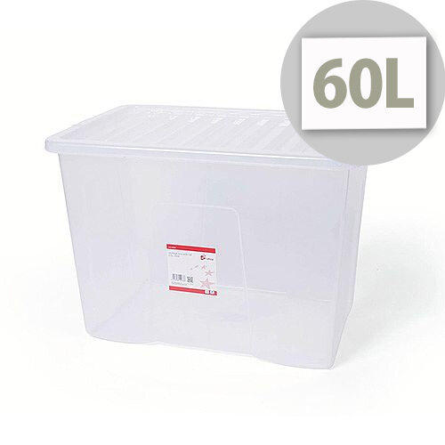 5 Star Office Storage Box Stackable Clip-on Lid 60L Clear