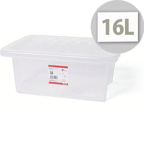 5 Star Office Storage Box Stackable Clip-on Lid 16L Clear
