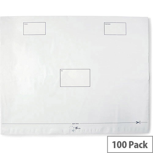 5 Star Elite Envelopes Extra Strong Waterproof Polythene Peel and Seal Opaque 600x430mm  Pack 100
