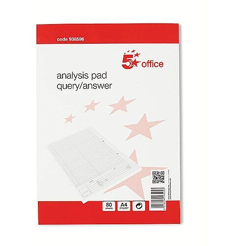 5 Star Office  A4  Analysis Pad Query/Answer Accounting 53 Weeks  White