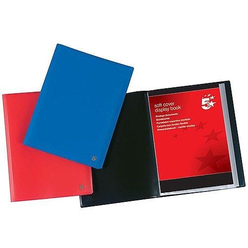 5 Star Office Display Book Soft Cover Lightweight Polypropylene 10 Pockets A4 Red