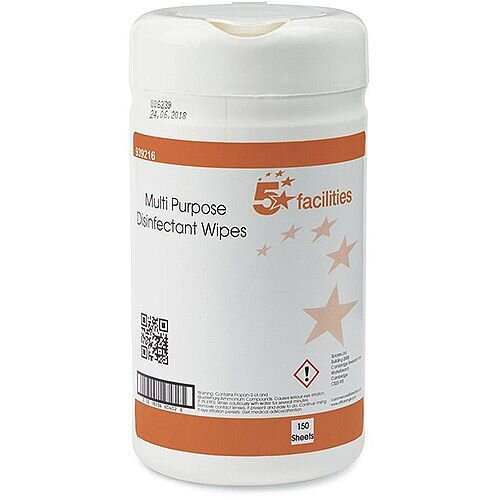 5 Star Facilities Multipurpose Wipes Surface &Equipment Anti-bacterial 23gsm 13x13cm [Tub 150 Sheets]