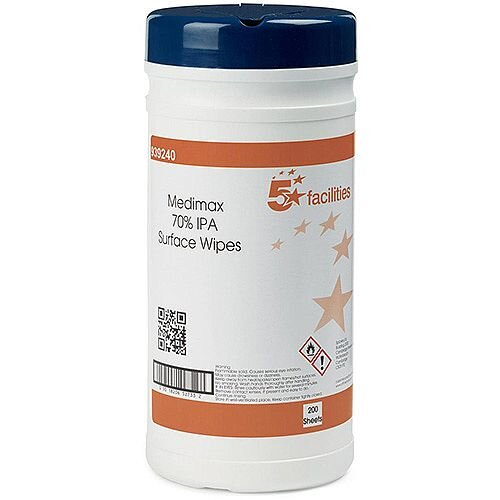 5 Star Facilities Surface Wipes Anti-bacterial No Residue IPA70 20gsm 20x20cm [Tub 200 Sheets]