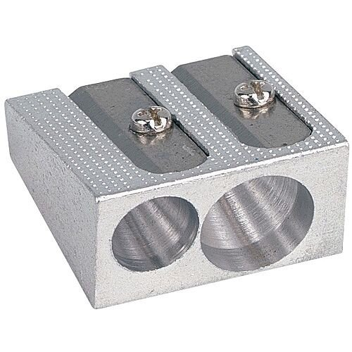 5 Star Office Pencil Sharpener Pocket-sized Metal for Max. Diameter 8mm Double Hole Pack of 24