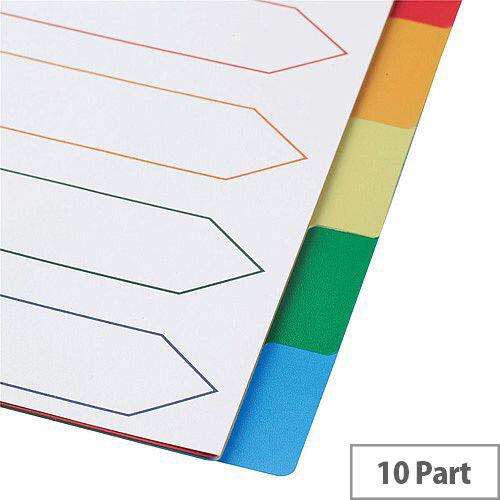 5 Star Elite A4 File Dividers Multicoloured Tabs Polypropylene 10-Part White