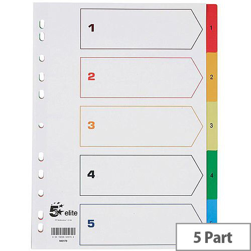 5 Star Elite A4 Index multicoloured Tabs Polypropylene 1-5 White
