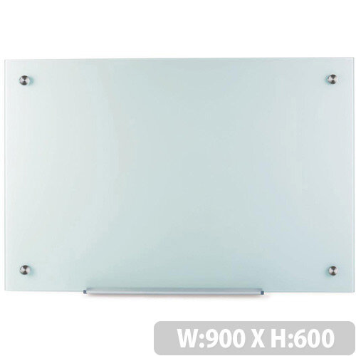 5 Star Office W900xH600mm Magnetic Glass Board with Wall Fixings White