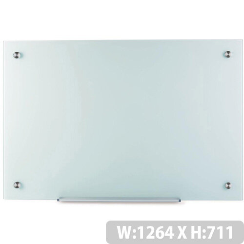 5 Star Office W1264xH711mm Magnetic Glass Board with Wall Fixings White