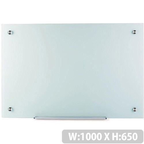 5 Star Office W1000xH650mm Magnetic Glass Board – Wall Fixings, Chalk, Glass Markers, Tempered Glass Surface, Suitable For Education and Office Situations &12 Month Warranty (940380)