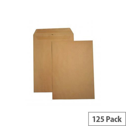 5 Star Office Envelopes Recycled Heavyweight Pocket Self Seal 115gsm Manilla 457x324 Pack of 125