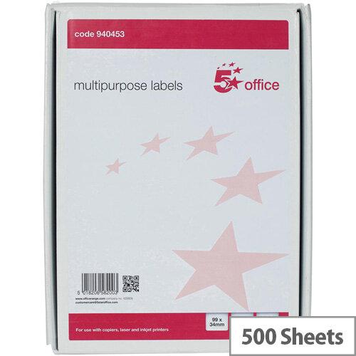 5 Star Office Multipurpose Labels Laser Copier Inkjet 16 Per Sheet 99x34mm White 8000 Labels Pack of 500