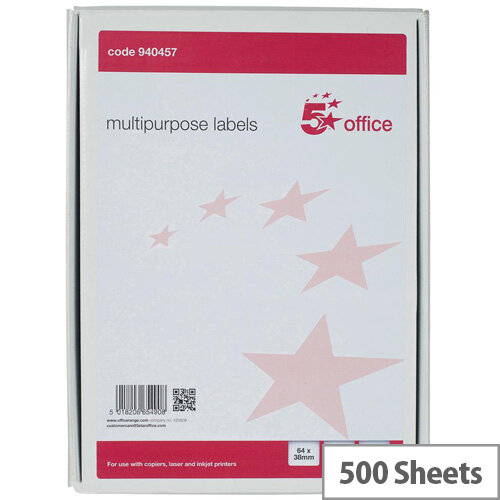 5 Star Office Multipurpose Labels Laser Copier Inkjet 21 Per Sheet 64x34mm White 10500 Labels Pack of 500