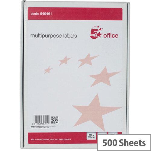 5 Star Office Multipurpose Labels Laser Copier Inkjet 1 Per Sheet 200x288mm White Pack of 500