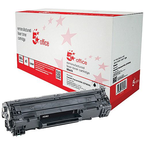 5 Star Office Remanufactured HP CF283A 83A Black Yield 1,500 Pages Laser Toner Cartridge
