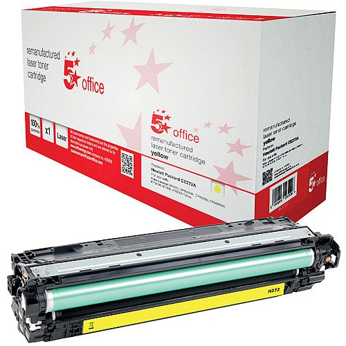 5 Star Office Remanufactured HP CE272A 650A Yellow Yield 15,000 Pages Laser Toner Cartridge