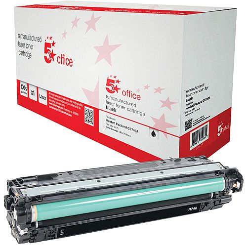 5 Star Office Remanufactured HP CE740A 307A Black Yield 7,000 Pages Laser Toner Cartridge