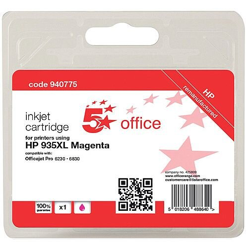 5 Star Office Remanufactured HP C2P25AE 935XL Magenta Yield 825 Pages High Capacity Inkjet Cartridge