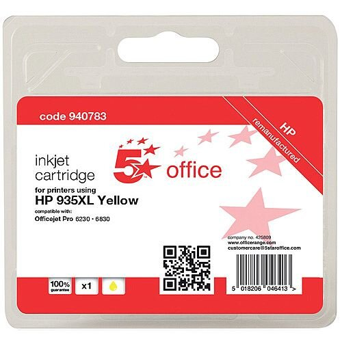 5 Star Office Remanufactured HP C2P26AE 935XL Yellow Yield 825 Pages High Capacity Inkjet Cartridge