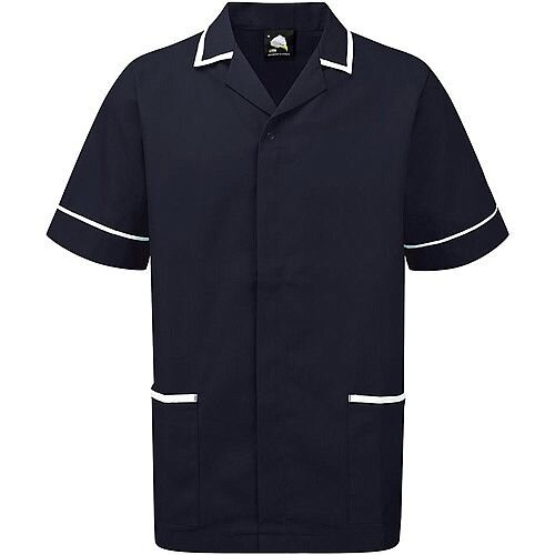 5 Star Facilities Men's Nursing Tunic Concealed Zip Size Large Navy/White