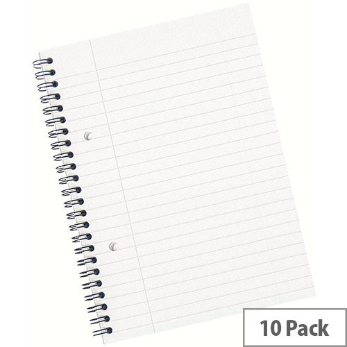 5 Star Office A5 Wirebound Notebook Sidebound Ruled with Margin Perforated 100 Sheets White Pack of 10