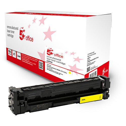 5 Star Office Remanufactured Toner Cartridge Page Life Yellow 1300pp [HP 203A CF542A Alternative]