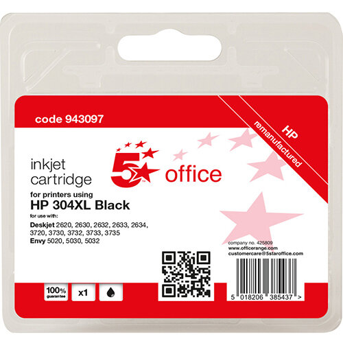 5 Star Office Remanufactured Inkjet Cartridge Page Life Black 300pp [HP No.304XL N9K08AE Alternative]