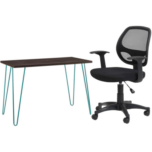 Owen Retro Home Office Desk - Espresso with Teal Frame &Alphason Office Chair Davis Black Mesh