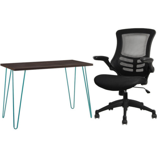 Owen Retro Home Office Desk - Espresso with Teal Frame &Executive High Back Mesh OP Office Chair - Stylish Design &Great Comfort