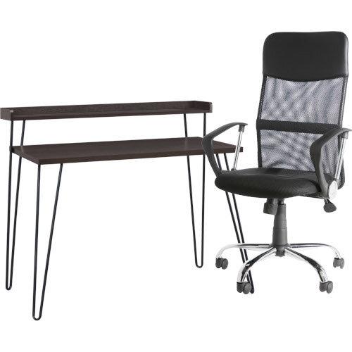 Haven retro Desk with Riser – Espresso &Alphason Office Chair Orlando Black Mesh