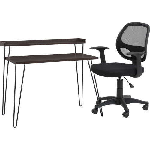 Haven retro Desk with Riser – Espresso &Alphason Office Chair Davis Black Mesh