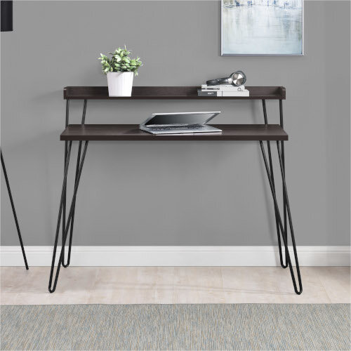 Haven Retro Home Office Desk with Riser – Espresso