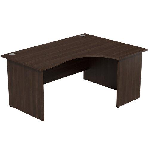 Radial Office Desk Panelled Right Hand W1600xD1200xH725mm Dark Walnut Ashford