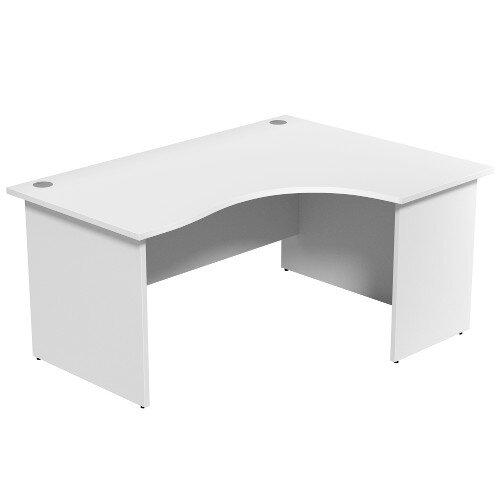 Radial Office Desk Panelled Right Hand W1600xD1200xH725mm White Ashford