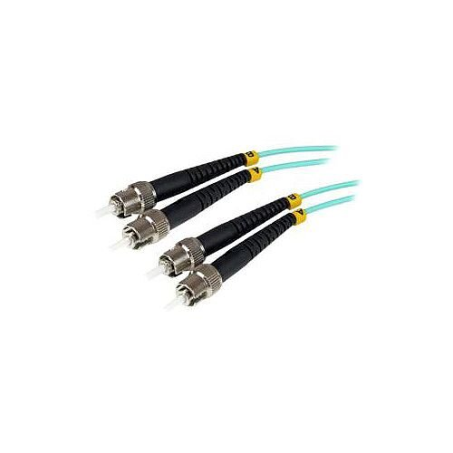 StarTech 1m Fiber Optic Cable 10 Gb Aqua Multimode Duplex 50/125 LSZH ST/ST OM3 ST to ST Fiber Patch Cable for Network Device 1m A50FBSTST1