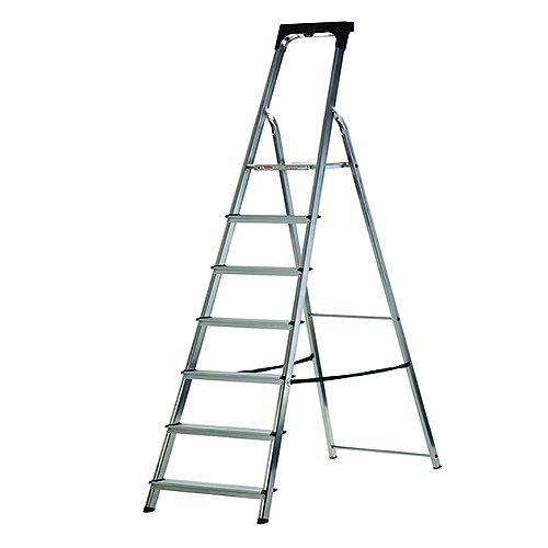 Abru Promaster Aluminium High Handrail 7 Tread Step Ladder Height 1.48m Silver 60607