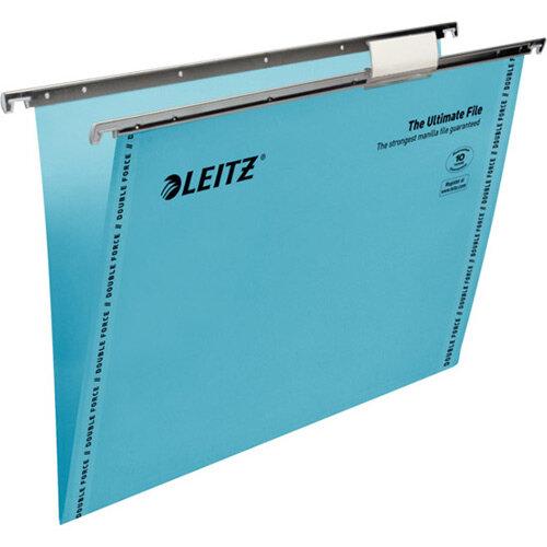 Leitz Ultimate Clenched Bar Suspension Files Foolscap V-Base Blue Pack of 50