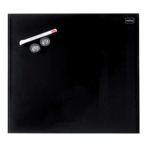 Nobo Diamond Glass Magnetic Whiteboard - Retail Pack 450x450mm Black