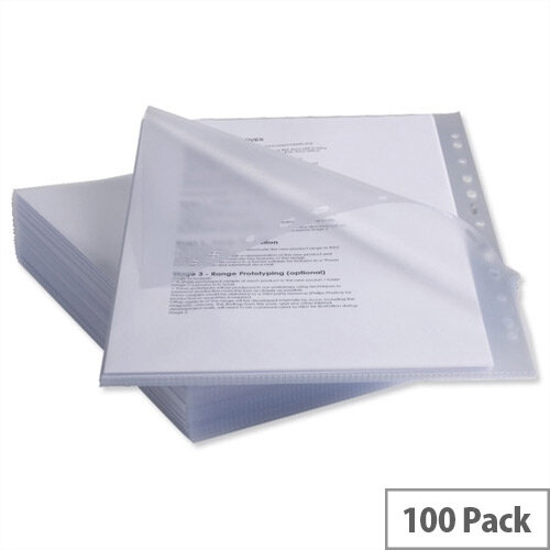 Rexel Anti Slip Pockets Multipunched Polypropylene High Grip 130 micron A4 Clear Ref 2102180 [Pack 25 x 4]
