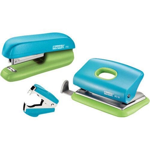 Rapid Mini Stapler F5 &Hole Punch Set Blister Pack Blue &Green