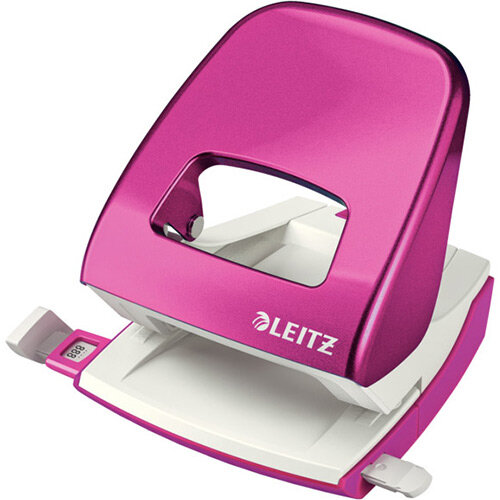 Leitz New NeXXt WOW Metal Office Hole Punch Blister Pk 3mm Metallic Pink