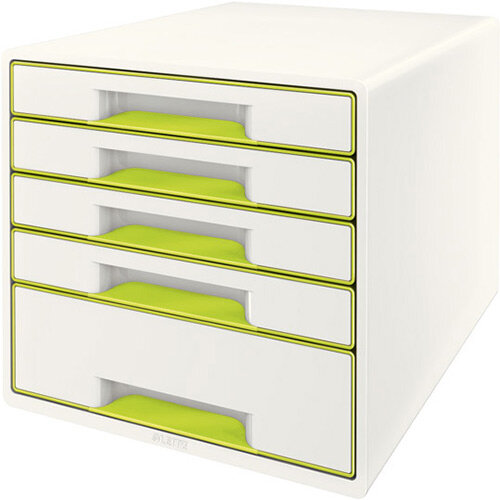 Leitz WOW Desk Cube 5 - 4 Small &1 Large Drawer Cabinet Green